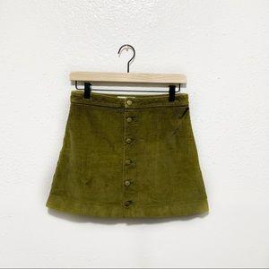 AMERICAN APPAREL Button Front Corduroy Skirt S